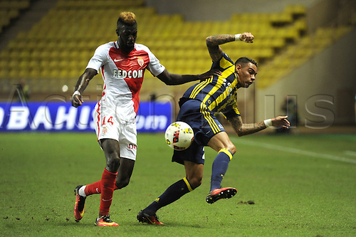 03.08.2016. Monaco, France. UEFA Champions league qualifying round, AS Monaco versus Fenerbahce.  Tieumoue Bakayoko (mon) takes control of the ball