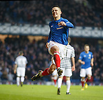 Ian Black celebrates after opening the scoring for Rangers against Queens Park