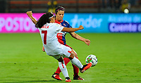 MEDELLIN - COLOMBIA, 30-09-2019: Laura Aguirre del Medellín disputa el balón con Gisela Robledo del América durante partido por la final vuelta entre Deportivo Independiente Medellín y América de Cali como parte de la Liga Femenina Águila 2019 jugado en el estadio Atanasio Girardot de la ciudad de Medellín. / Laura Aguirre of Medellin vies for the ball with Gisela Robledo of America during match for the second leg final between Deportivo Independiente Medellin and America de Cali as part Aguila Women League 2019 played at Atanasio Girardot stadium in Medellin city. Photo: VizzorImage / Cristian Alvarez / Cont