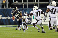 6 November 2010:  FIU wide receiver Jason Frierson (80) returns a punt in the second quarter as the FIU Golden Panthers defeated the University of Louisiana-Monroe Warhawks, 42-35 in double overtime, at FIU Stadium in Miami, Florida.