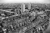 View from Trellick Tower over North Paddington, showing Fermoy and Hormead Housing action Area, Walterton and Elgin Estates, including the asbestos-ridden Hermes and Chantry Points towers, and the Harrow Road.