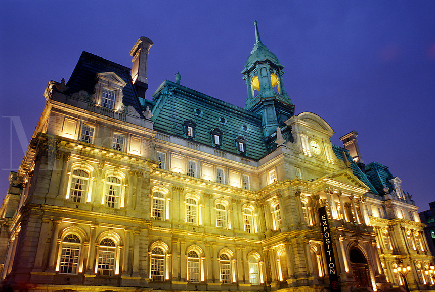 Montreal, Canada, Quebec, City Hall in the evening in Old Montreal (Vieux Montreal) in Quebec.
