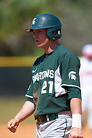 Michigan State Spartans pinch runner Dan Chmielewski (21) during a game against the Illinois State Redbirds on March 8, 2016 at North Charlotte Regional Park in Port Charlotte, Florida.  Michigan State defeated Illinois State 15-0.  (Mike Janes/Four Seam Images)