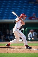 Ball State Cardinals Seth Freed (1) at bat during a game against the Louisville Cardinals on February 19, 2017 at Spectrum Field in Clearwater, Florida.  Louisville defeated Ball State 10-4.  (Mike Janes/Four Seam Images)