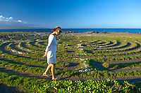 A woman walks the labyrinth in Kapalua, Maui.