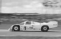 The #1 Porsche 962 of Mario Andretti and Michael Andretti in action at the SunBank 24 at Daytona, Daytona International Speedway, Daytona Beach, FL, Feb. 4-5, 1984. (Photo by Brian Cleary/www.bcpix.com)