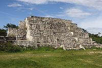 Structure 36, uncovered pyramid made up of four square and stepped platforms with a height of 9,40 meters, stairs to the South and towards the central square where the ancient mayans were attending the ceremonies. 900 - 1000 AD,  Dzibilchaltun, Yucatan, Mexico. Picture by Manuel Cohen