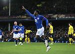 Romelu Lukaku of Everton celebrates scoring his second goal of the night - UEFA Europa League Round of 32 Second Leg - Everton vs Young Boys - Goodison Park Stadium - Liverpool - England - 26th February 2015 - Picture Simon Bellis/Sportimage