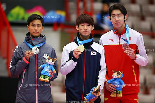 (L-R)<br /> Kazuki Yoshinaga (JPN),<br /> Hong Kyunghwan (KOR),<br /> Ma Wei (CHN),<br /> FEBRUARY 16, 2016 - Short Track : <br /> Men's 500m Medal Ceremony<br /> at Gjovik Olympic Cavern Hall<br /> during the Lillehammer 2016 Winter Youth Olympic Games <br /> in Lillehammer, Norway.<br /> (Photo by Shingo Ito/AFLO SPORT)