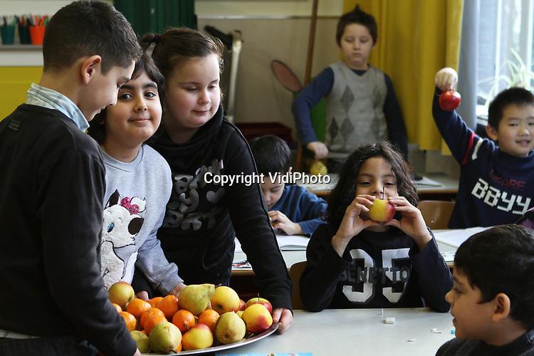 Foto: VidiPhoto..ARNHEM - In het kader van EU-schoolfruit wordt op de Arnhemse basisschool Kunstrijk fruit uitgedeeld aan de kinderen van groep 4/5..