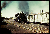 3/4 view of D&amp;RGW #483 beside two maintenance work cars assigned to rotary #OM.<br /> D&amp;RGW  Chama, NM