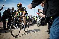 Jens Debusschere (BEL/Lotto-Soudal) coming through the Carrefour de l'Arbre sector<br /> <br /> 113th Paris-Roubaix 2015