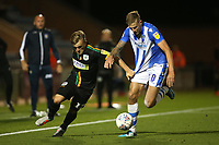 Harry Pell of Colchester United and Alex Pattison of Yeovil Town during Colchester United vs Yeovil Town, Sky Bet EFL League 2 Football at the JobServe Community Stadium on 2nd October 2018