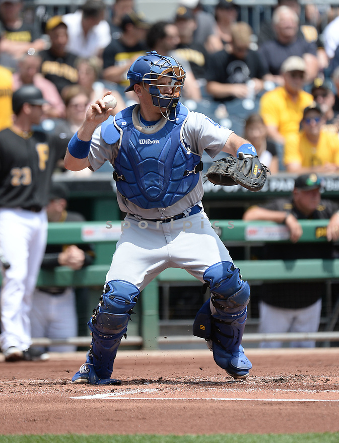 Los Angeles Dodgers AJ Ellis (17) during a game against the Pittsburgh Pirates on June 27, 2016 at PNC Park in Pittsburgh, PA. The Dodgers beat the Pirates 4-3.