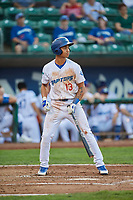 Marcus Chiu (13) of the Ogden Raptors bats against the Billings Mustangs at Lindquist Field on August 18, 2018 in Ogden, Utah. Billings defeated Ogden 6-4. (Stephen Smith/Four Seam Images)