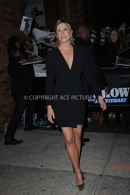 WWW.ACEPIXS.COM<br /> January 22, 2015 New York City<br /> <br /> Jennifer Aniston after taping an appearance on the The Daily Show with Jon Stewart on January 22, 2015 in New York City.<br /> <br /> Please byline: Kristin Callahan/AcePictures<br /> <br /> ACEPIXS.COM<br /> <br /> Tel: 646 769 0430<br /> e-mail: info@acepixs.com<br /> web: http://www.acepixs.com