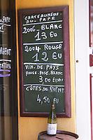 wine shop chalk board chateauneuf du pape rhone france