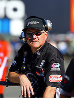 Jul. 26, 2013; Sonoma, CA, USA: Crew chief for NHRA top fuel dragster driver Bob Vandergriff Jr during qualifying for the Sonoma Nationals at Sonoma Raceway. Mandatory Credit: Mark J. Rebilas-