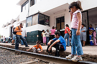 Travelers wait for a train at the Bahuichivo station in Copper Canyon, Mexico, Friday, June 20, 2008. This small town is one of the first stops entering the canyon from Los Mochis. ..PHOTOS/ MATT NAGER