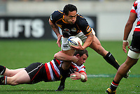 Mark Selwyn tries to tackle Wellington winger Hosea Gear. ITM Cup - Wellington Lions v Counties-Manukau Steelers at Westpac Stadium, Wellington, New Zealand on Sunday, 8 August 2010. Photo: Dave Lintott/lintottphoto.co.nz.