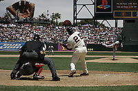 Pedro Martinez and Barry Bonds. Boston Red Sox vs San Francisco Giants. San Francisco, CA 6/19/2004 MANDATORY CREDIT: Brad Mangin