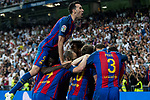 Leo Messi Sergio Busquets,  of FC Barcelona celebrates after scoring a goal during the match of La Liga between Real Madrid and Futbol Club Barcelona at Santiago Bernabeu Stadium  in Madrid, Spain. April 23, 2017. (ALTERPHOTOS)