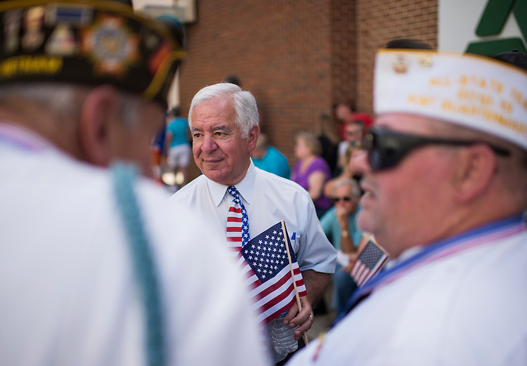 UNITED STATES - JULY 5: Rep. Nick Rahall, D-W.Va., speaks with veterans at the West Virginia Freedom Festival in downtown Logan, W. Va., on July 5, 2014. (Photo By Bill Clark/CQ Roll Call)