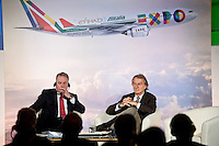 Rome, January 20 ,2015. James Hogan President e CEO di Etihad Aviation Group e Vice Presidente di Alitalia con Luca Cordero di Montezemolo durante la conferenza stampa per la presentazione della nuova partnership tra Aliatalia e Gruppo Etihad. James Hogan President and CEO of Etihad Aviation Group and Vice President of Alitalia (L) with Luca Cordero di Montezemolo, President of Alitalia, attend the press conference for promote the new Alitalia service.