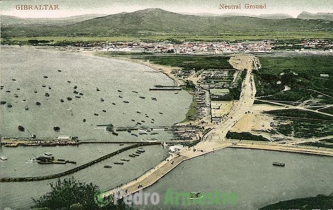 DESTRUCCION A TODA COSTA 2010 (DTC2010) Bahía de Algeciras, Cádiz, desde el Peñón de Gibraltar. Aprox 1915. © Colección personal Pedro Armestre