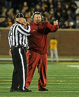 NWA Media/Michael Woods --11/28/2014-- w @NWAMICHAELW...University of Arkansas coach Bret Bielema talks with the officials after an Arkansas fumble late in the 4th quarter was being reviewed during Friday afternoons game against Missouri at Faurot Field in Columbia Missouri.