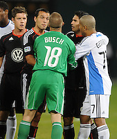 DC United forward Jaime Moreno (99) argues after a hard tackle.  San Jose Earthquakes defeated DC United 2-0 at RFK Stadium, October 9, 2010.