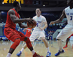 February 4, 2015 - Colorado Springs, Colorado, U.S. -    Air Force players, Zach Kocur #5, and Justin Hammonds #3, cut off the baseline during a Mountain West Conference match-up between the New Mexico Lobos and the Air Force Academy Falcons at Clune Arena, U.S. Air Force Academy, Colorado Springs, Colorado.  Air Force upsets New Mexico 53-49.