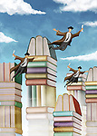 Illustrative image of stacked books and flying students representing graduation day