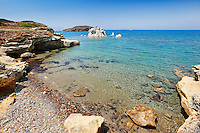 A small beach and white rock formations near Mavrospilia in Kimolos, Greece
