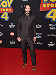 """HOLLYWOOD, CA - JUNE 11: Keanu Reeves arrives at the premiere of Disney and Pixar's """"Toy Story 4"""" at the El Capitan Theatre on June 11, 2019 in Los Angeles, California.<br /> CAP/ROT/TM<br /> ©TM/ROT/Capital Pictures"""