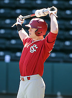 USC outfielder Evan Marzilli (31) prior to a game between the Clemson Tigers and South Carolina Gamecocks Saturday, March 6, 2010, at Fluor Field at the West End in Greenville, S.C. Photo by: Tom Priddy/Four Seam Images