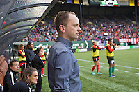 Portland, Oregon - Saturday July 9, 2016: Thorns head coach Mark Parsons during a regular season National Women's Soccer League (NWSL) match at Providence Park.