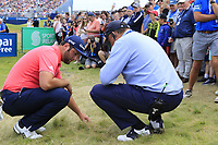 Jon Rahm (ESP) ball ends up on a tv cable at the 18th green during Sunday's Final Round of the Dubai Duty Free Irish Open 2019, held at Lahinch Golf Club, Lahinch, Ireland. 7th July 2019.<br /> Picture: Eoin Clarke | Golffile<br /> <br /> <br /> All photos usage must carry mandatory copyright credit (© Golffile | Eoin Clarke)