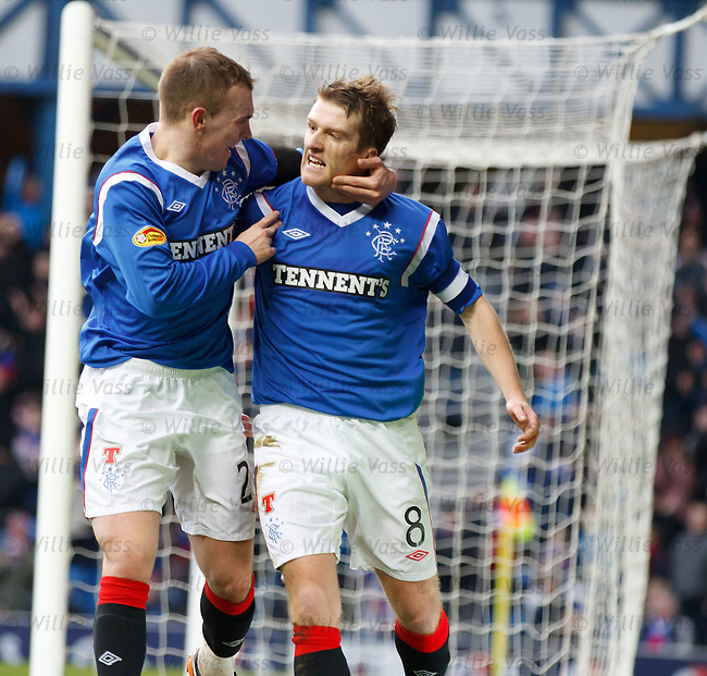 Steven Davis celebrates his goal for Rangers with team mate Gregg Wylde