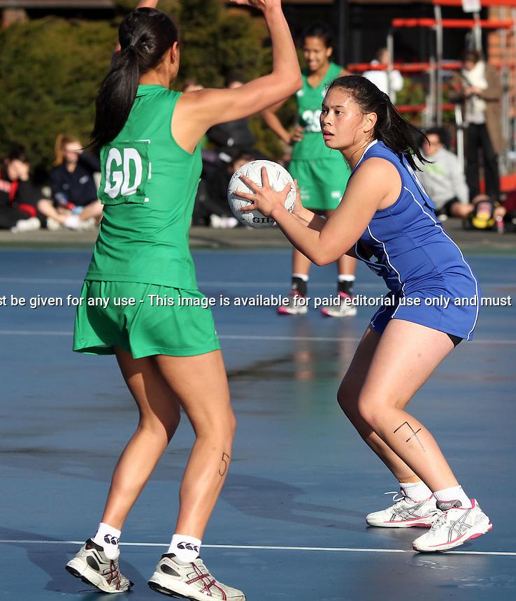 12.07.2012 Manawatu v Auckland - Under 17 Age Group Netball Champs played at Hagley Park in Christchurch. Mandatory Photo Credit ©Michael Bradley.