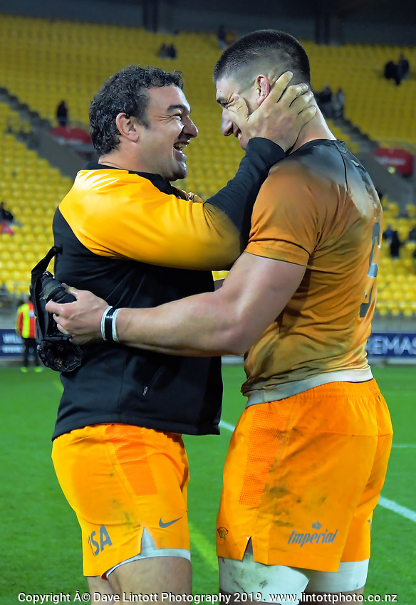 Jaguares' Agustin Creevy and Tomas Lavanini celebrate winning the Super Rugby match between the Hurricanes and Jaguares at Westpac Stadium in Wellington, New Zealand on Friday, 17 May 2019. Photo: Dave Lintott / lintottphoto.co.nz