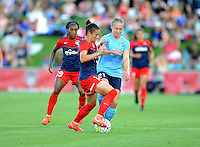 Boyds, MD - Saturday June 25, 2016: Crystal Dunn, Ali Krieger, Leah Galton during a United States National Women's Soccer League (NWSL) match between the Washington Spirit and Sky Blue FC at Maureen Hendricks Field, Maryland SoccerPlex.