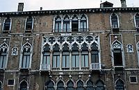 Venice:  Gothic facade, Grand Canal.  Photo '83.