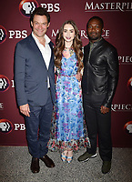 LOS ANGELES, CA - JUNE 08: (L-R) Dominic West, Lily Collins and David Oyelowo attend Les Misérables Photo Call at Linwood Dunn Theater on June 08, 2019 in Los Angeles, California.<br /> CAP/ROT/TM<br /> ©TM/ROT/Capital Pictures