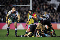 Tito Tebaldi of Harlequins passes the ball. Aviva Premiership match, between Harlequins and Leicester Tigers on February 19, 2016 at the Twickenham Stoop in London, England. Photo by: Patrick Khachfe / JMP