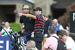 Gethin Jones gives some advice to Scottish actor Dougray Scott on the 4th hole.<br /> Celebrity Cup Golf<br /> Celtic Manor Resort<br /> 04.07.14<br /> &copy;Steve Pope-SPORTINGWALES