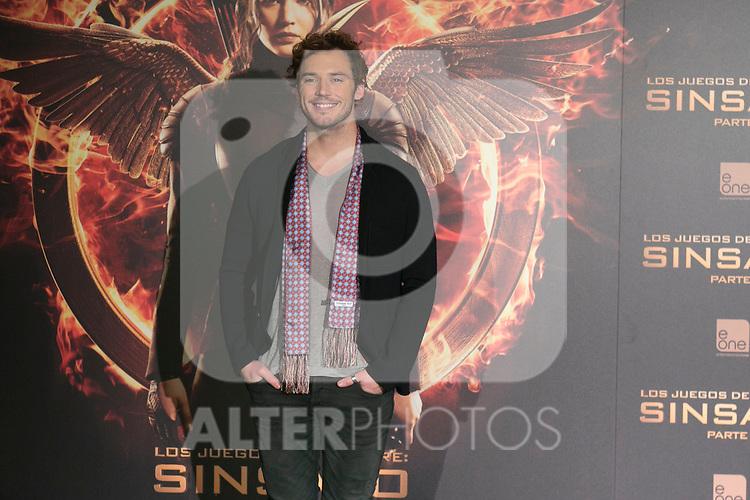 "British Actor SAM CLAFLIN attends the ""The Hunger Games: Mockingjay - Part 1"" presentation at Villamagna Hotel in Madrid, Spain. November 12, 2014. (ALTERPHOTOS/Carlos Dafonte)"
