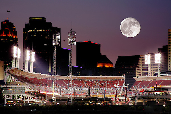 Moonrise Over Cincinnati Ohio After Sunset, Baseball Night In The Queen City On The Ohio River
