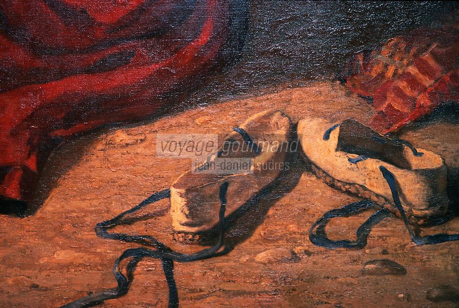 """Europe/France/Aquitaine/64/Pyrénées-Atlantiques/Bayonne: Musée basque, espadrilles basque, détail du tableau """"Basquaises après le bain"""" par Jules Veyrassat, 1870"""