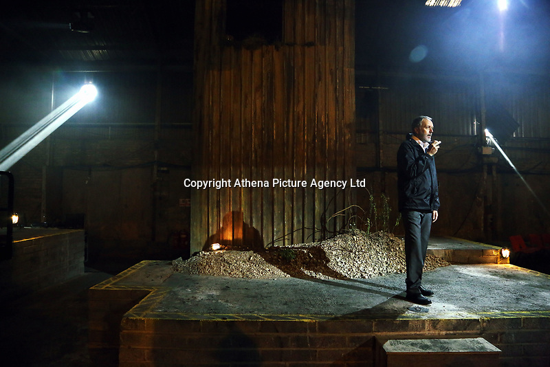 "Pictured: Actor Ioan Hefin who plays Adrian<br /> Re: Press rehearsal of ""We'Re Still Here"", a play created by Rachel Trezise, Common Wealth and the National Theatre Wales about steelworkers, which will be performed in Byass Works, a disused industrial unit, in Port Talbot, south Wales, UK."